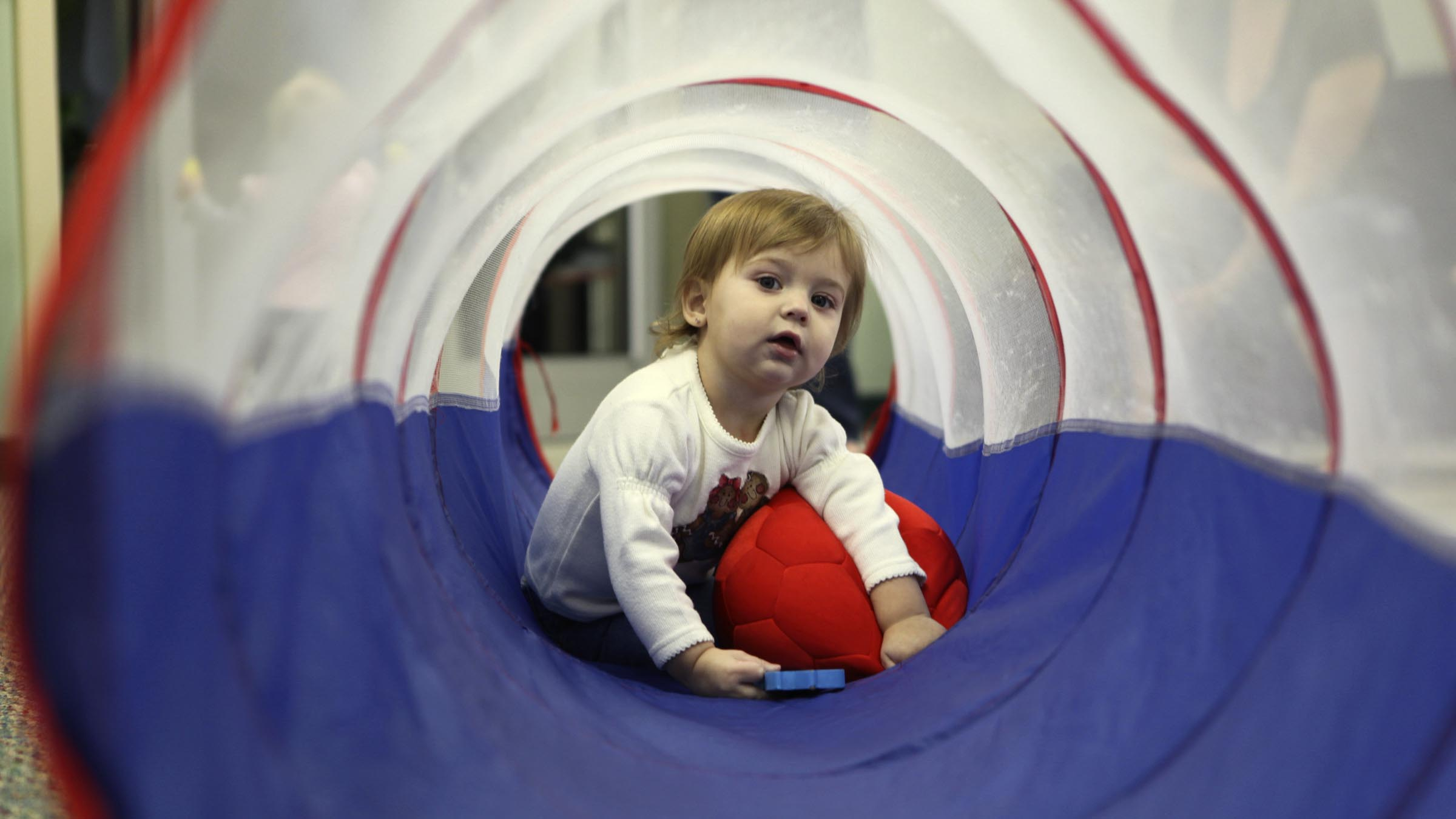 Kid in play area
