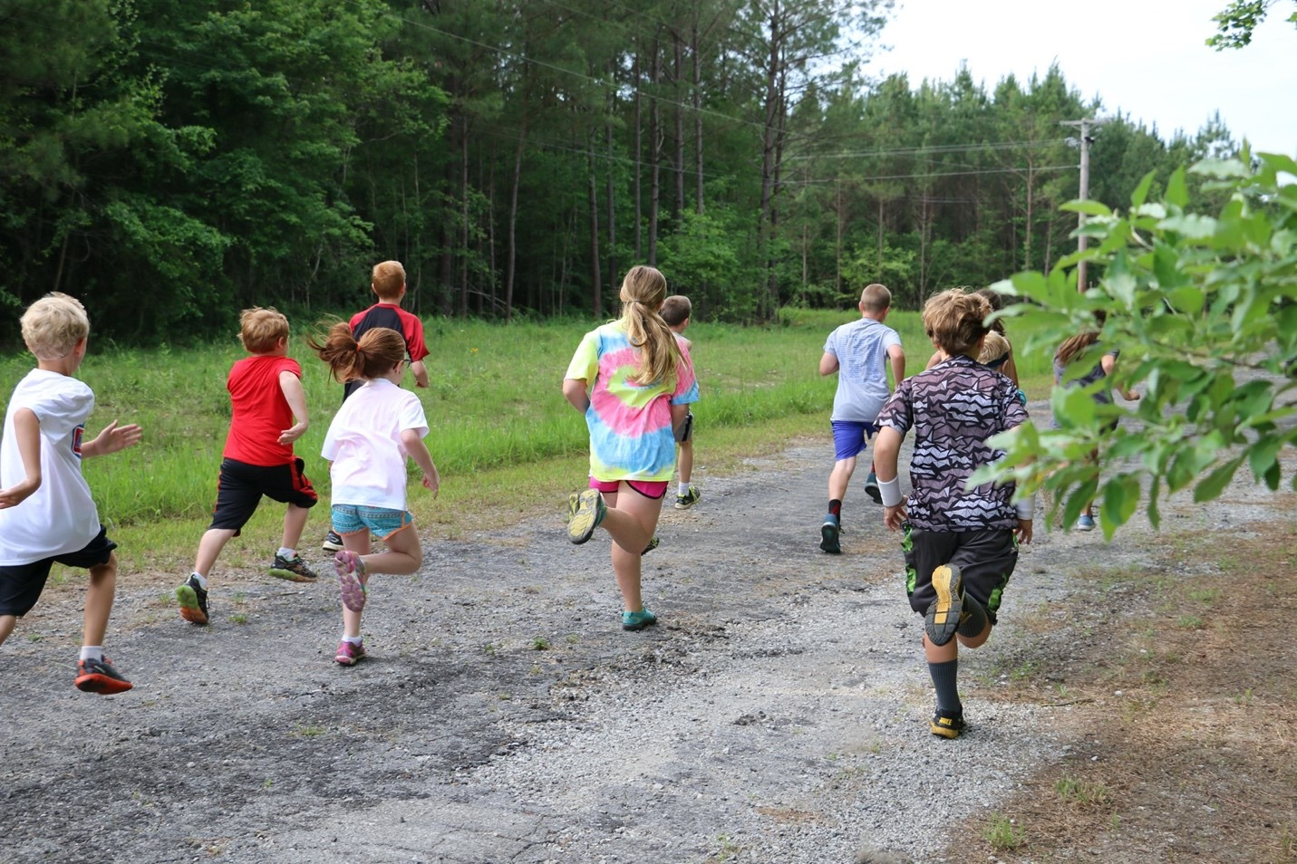 Children running outside