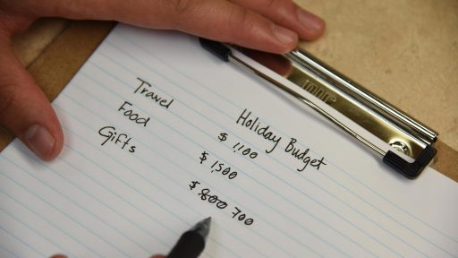 Paper showing holiday spending budget