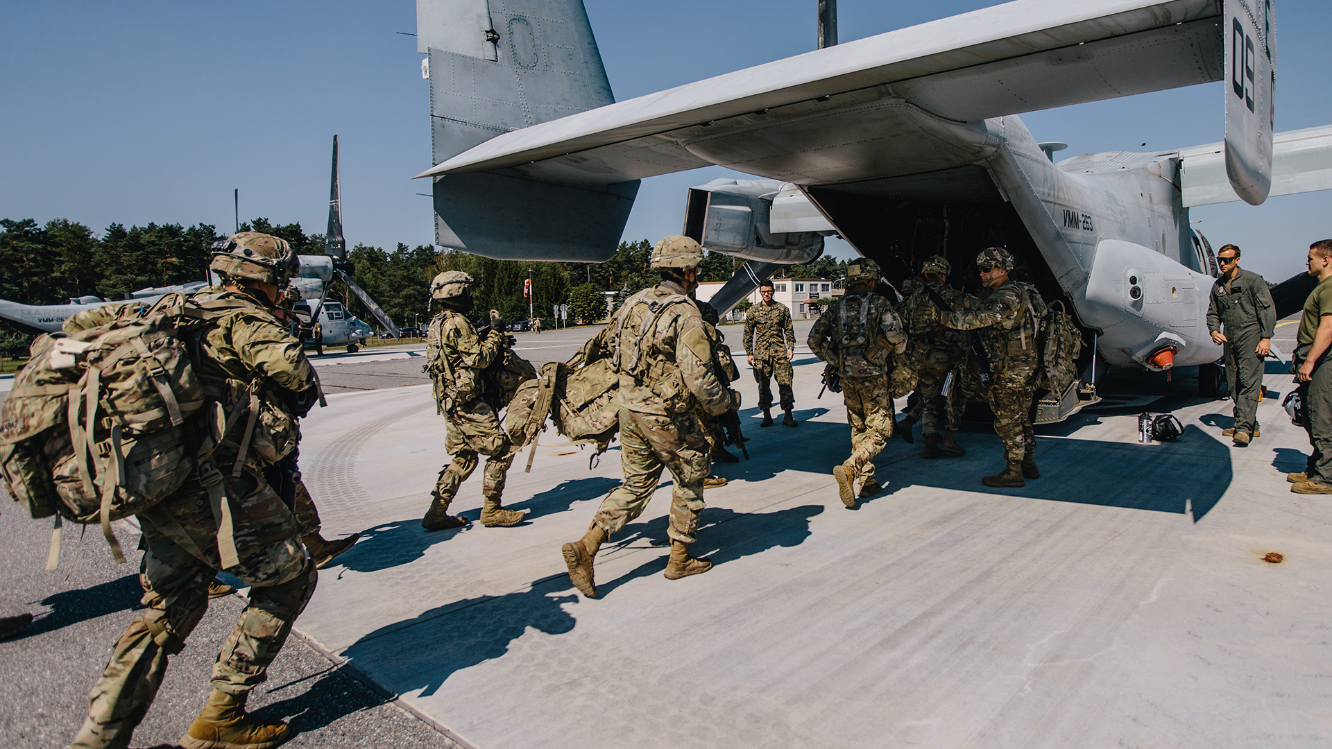 Army soldiers boarding to deploy