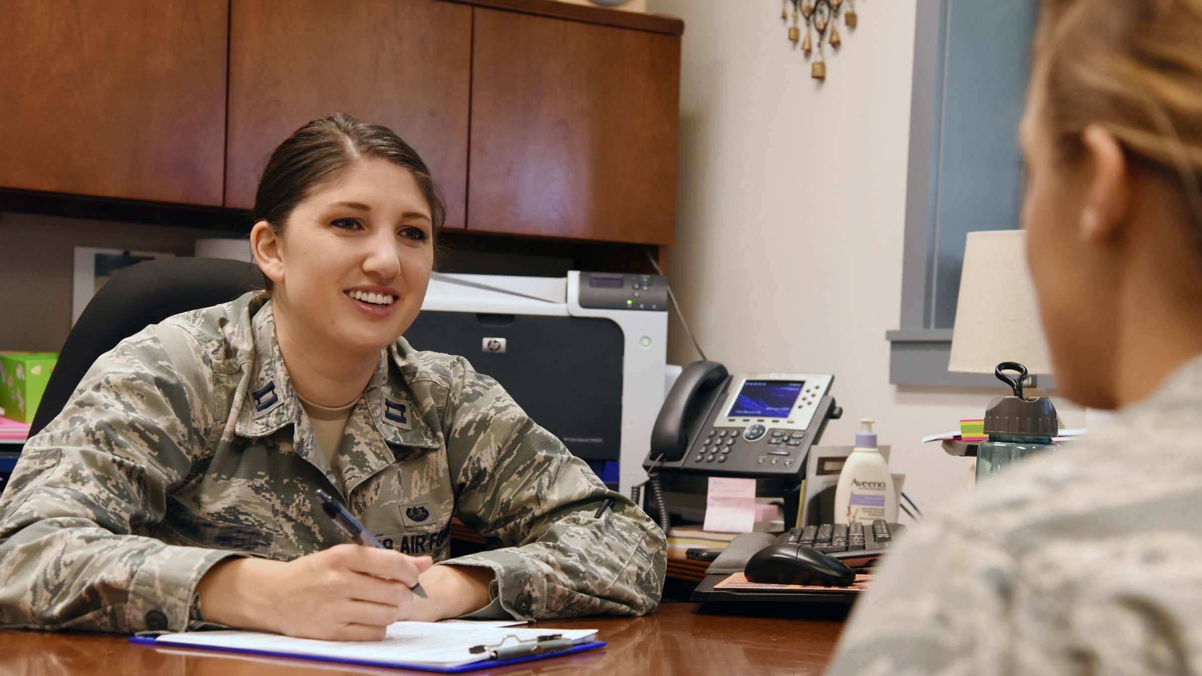 Female soldier giving counsel