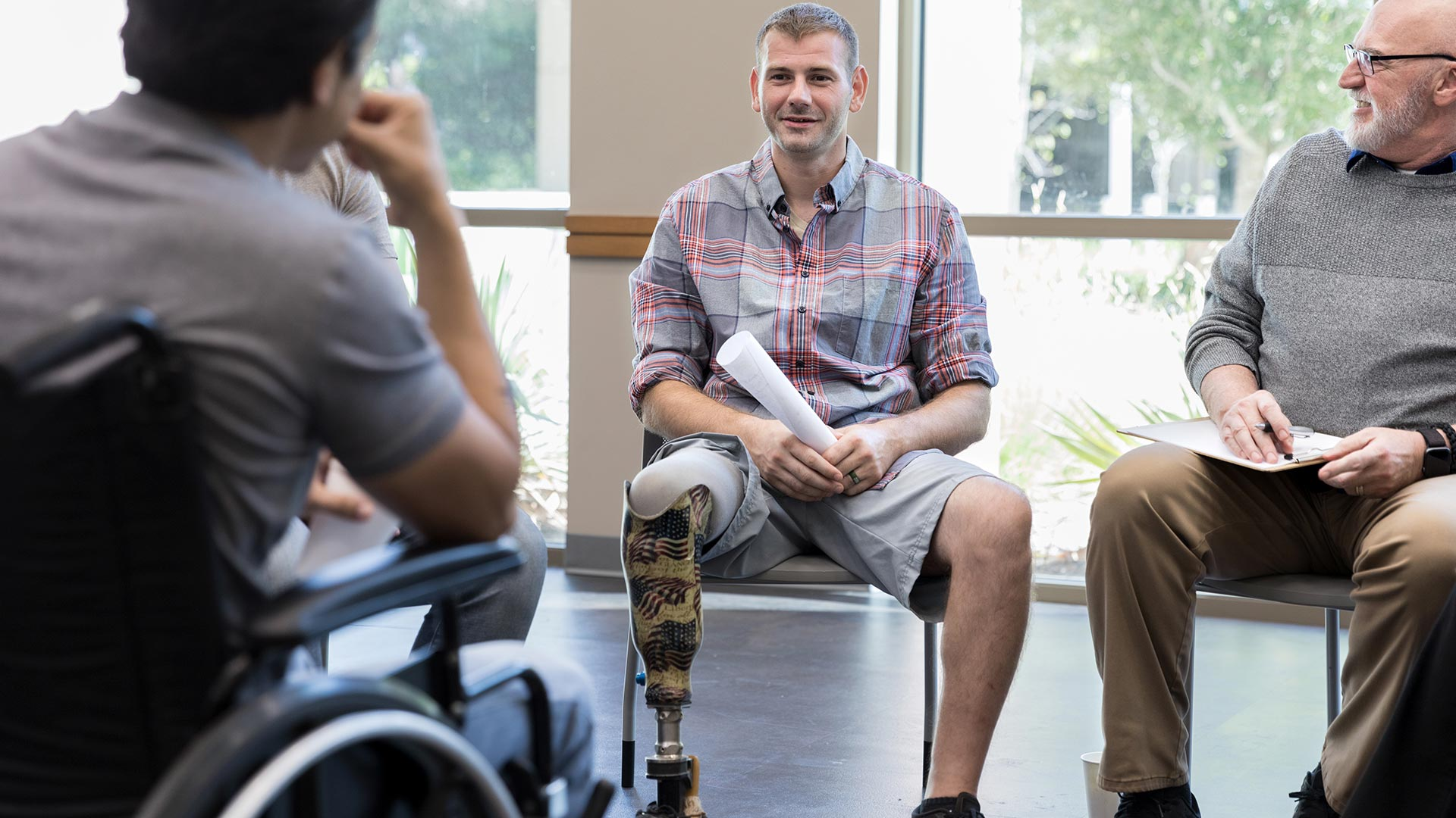 two disabled veterans talking
