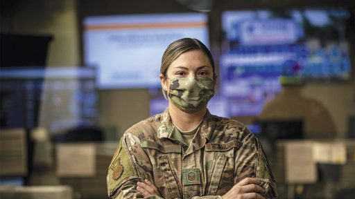 Woman in Air Force wearing a mask
