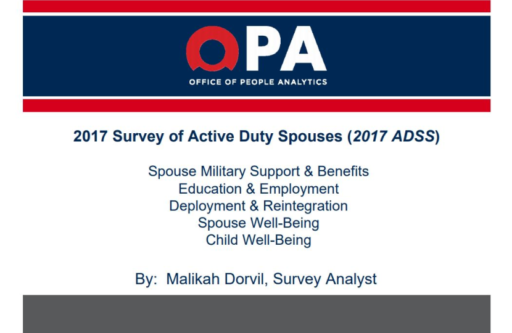OPA, Office of People Analytics, 2017 Survey of Active Duty Spouses (2017 ADSS), Spouse Military Support & Benefits, Education & Employment, Deployment & Reintegration, Spouse Well-Being, Child Well-Being, By: Malikah Dorvil, Survey Analyst