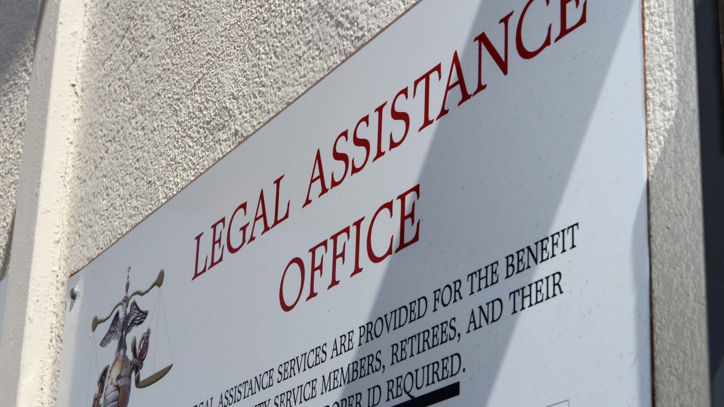 Sign for a Legal Assistance Office on a military installation