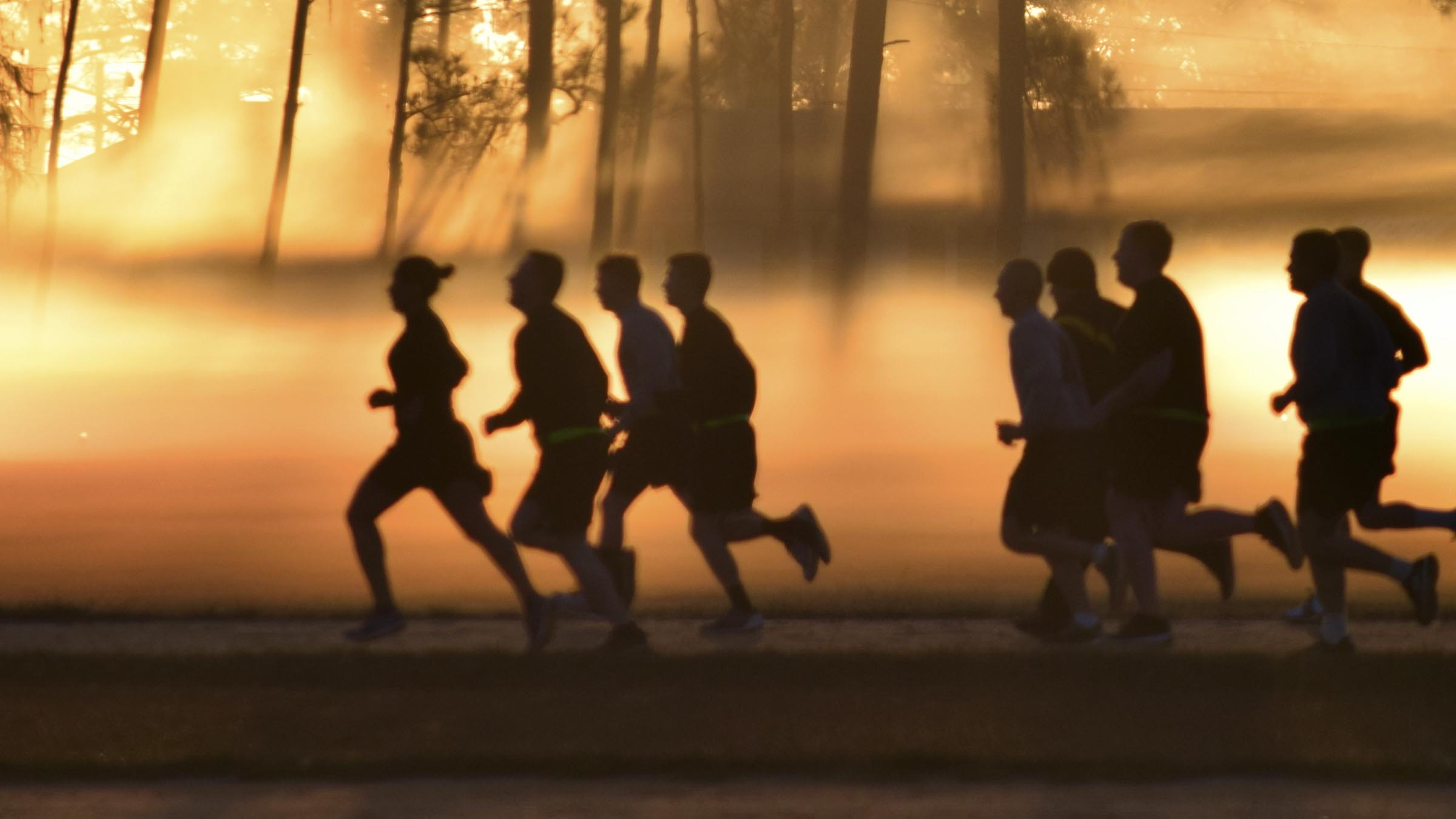 Runners at dawn