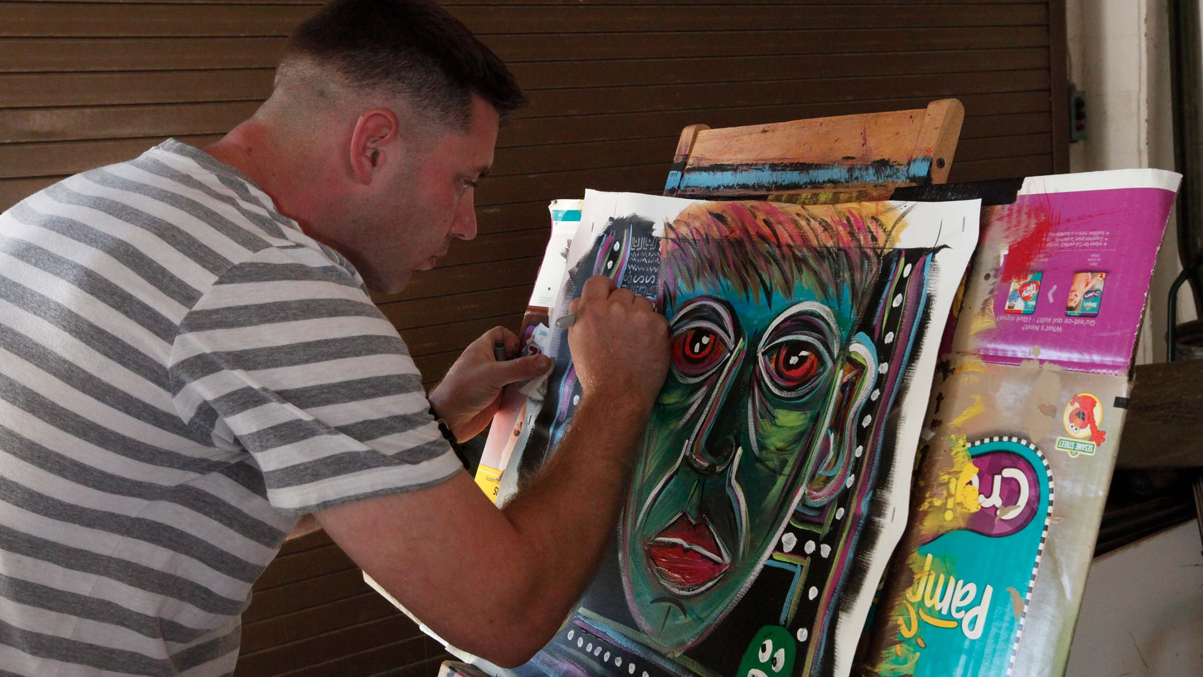 Service member paints to help with PTSD