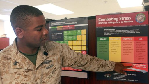 Uniformed service member points out ways to combat stress listed on a poster.