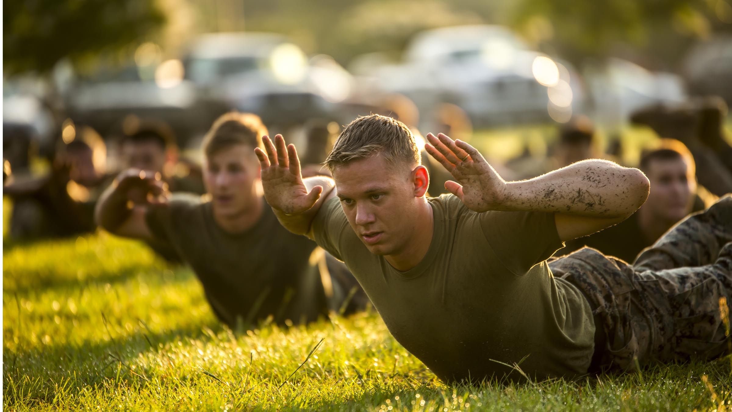 Service member in physical training