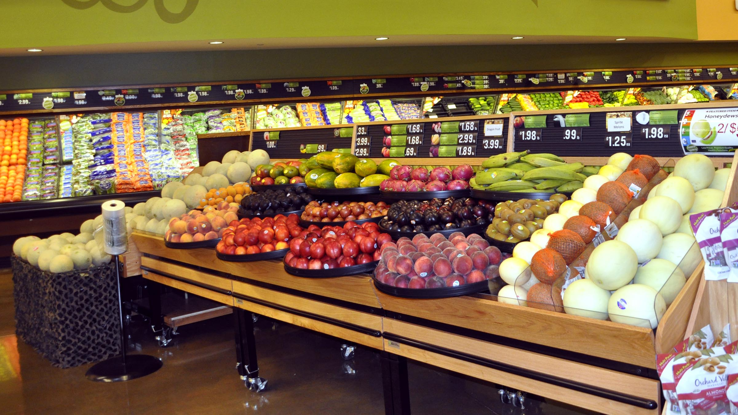 Produce section inside commissary
