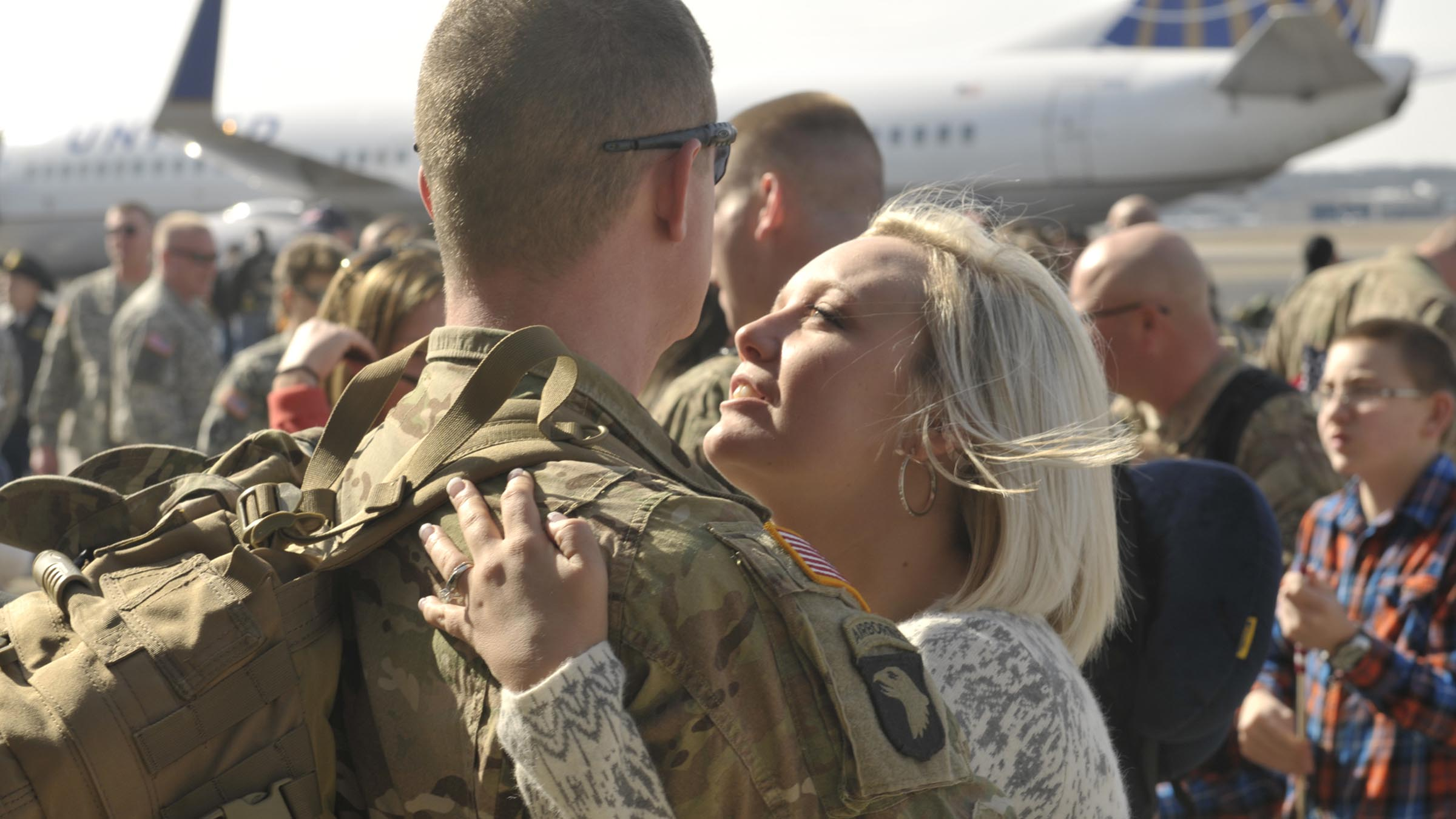 Couple saying goodbye before a deployment.