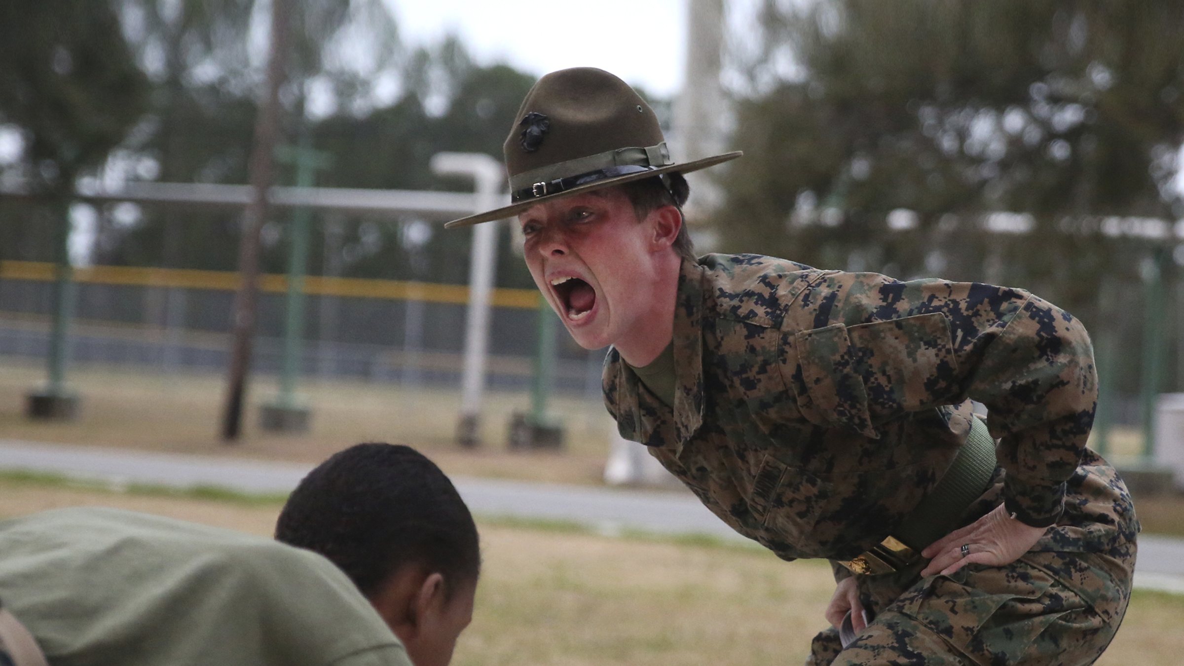 Drill Instructor shouts at recruits