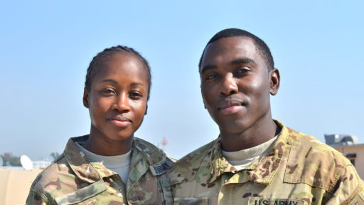 Husband and wife in uniform