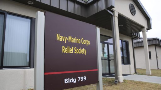 Navy-Marine Corps Relief Society sign building