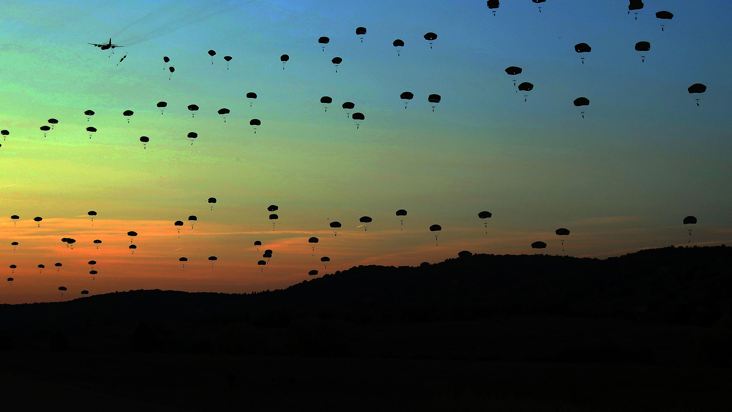 paratroopers cover skyline