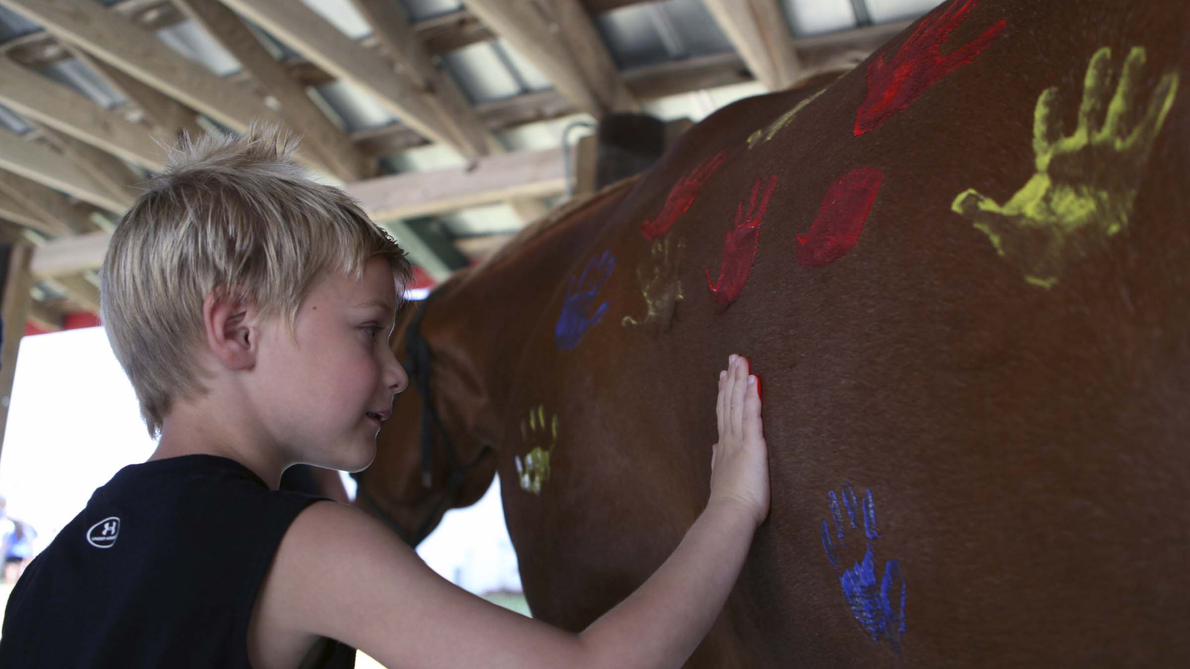 Child and horse.