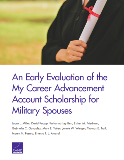 An Early Evaluation of the My Career Advancement Account Scholarship for Military Spouses, Laura L. Miller, David Knopp, Katharina Ley Best, Esther M. Friedman, Gabriella C. Gonzalez, Mark E. Totten, Jennie W. Wenger, Thomas E. Trail, Marek N. Postard, Ernesto F. L. Amaral