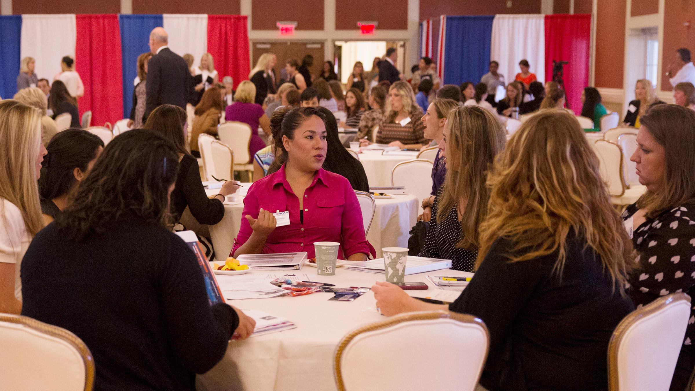 Military spouses networking at event