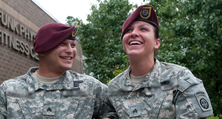 A military couple in service uniforms