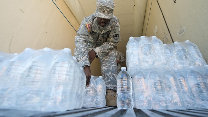 Bottled water on a truck