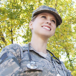 Female service member smiling