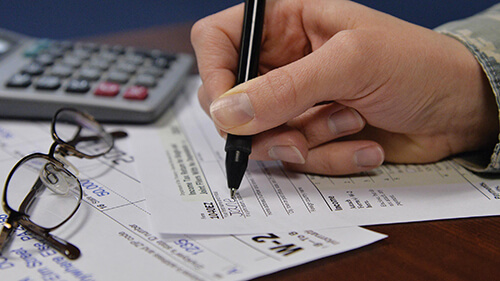 Filling out tax paperwork