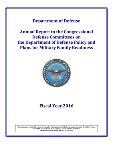 FY2016 Report on DoD Policy and Plans for MFR cover