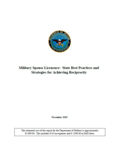 Spouse Licensure Report Title Page