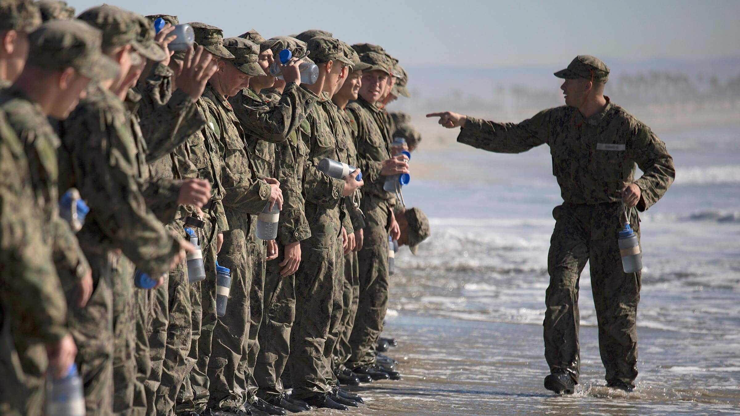 Navy SEAL candidates in training