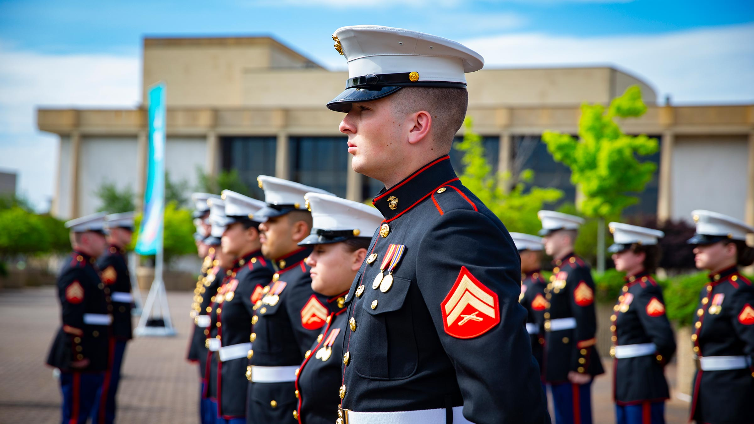 U.S. Marines stand in ranks