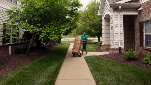 mover with boxes on dolly