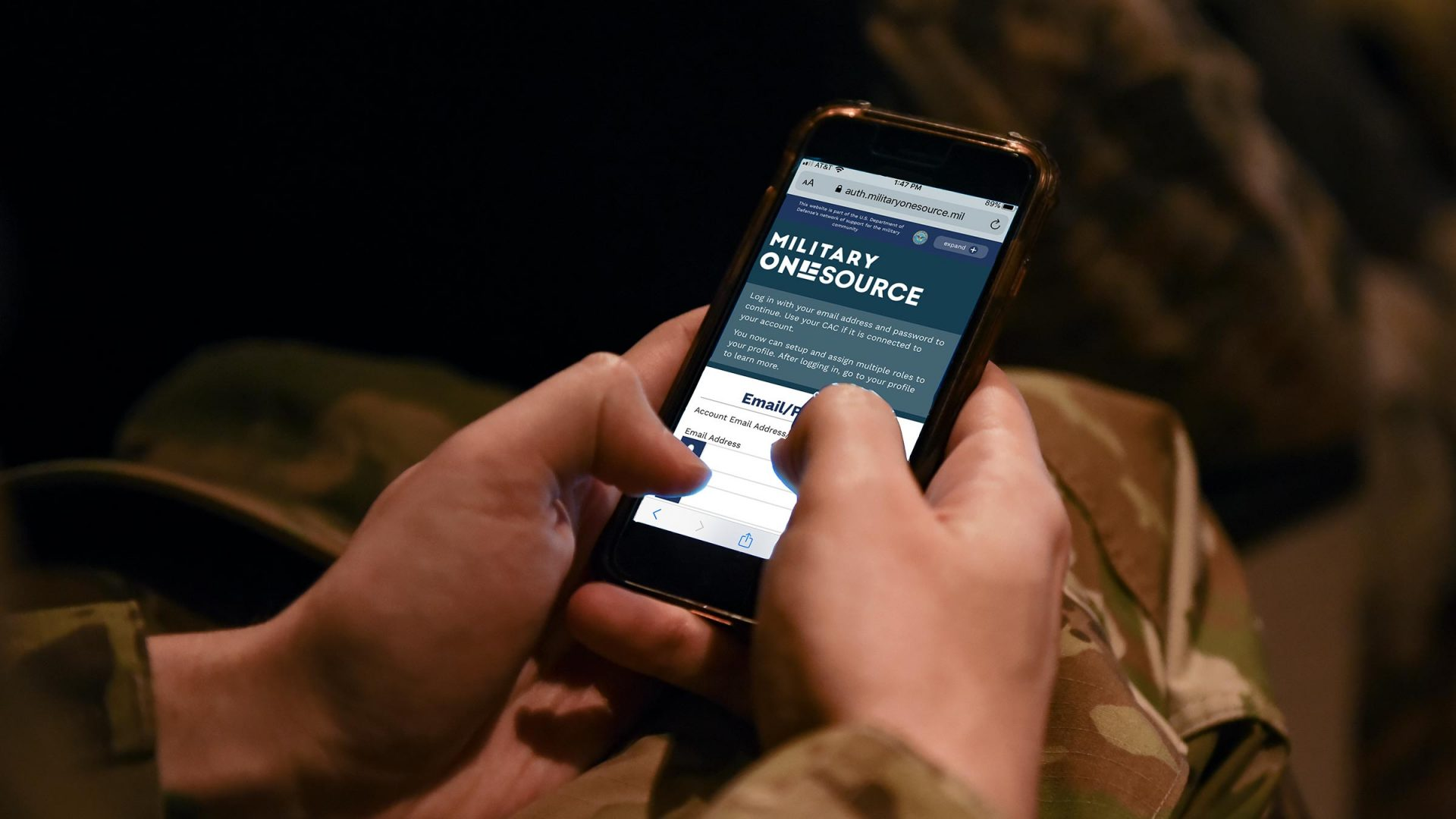 Service member logging into Military OneSource account