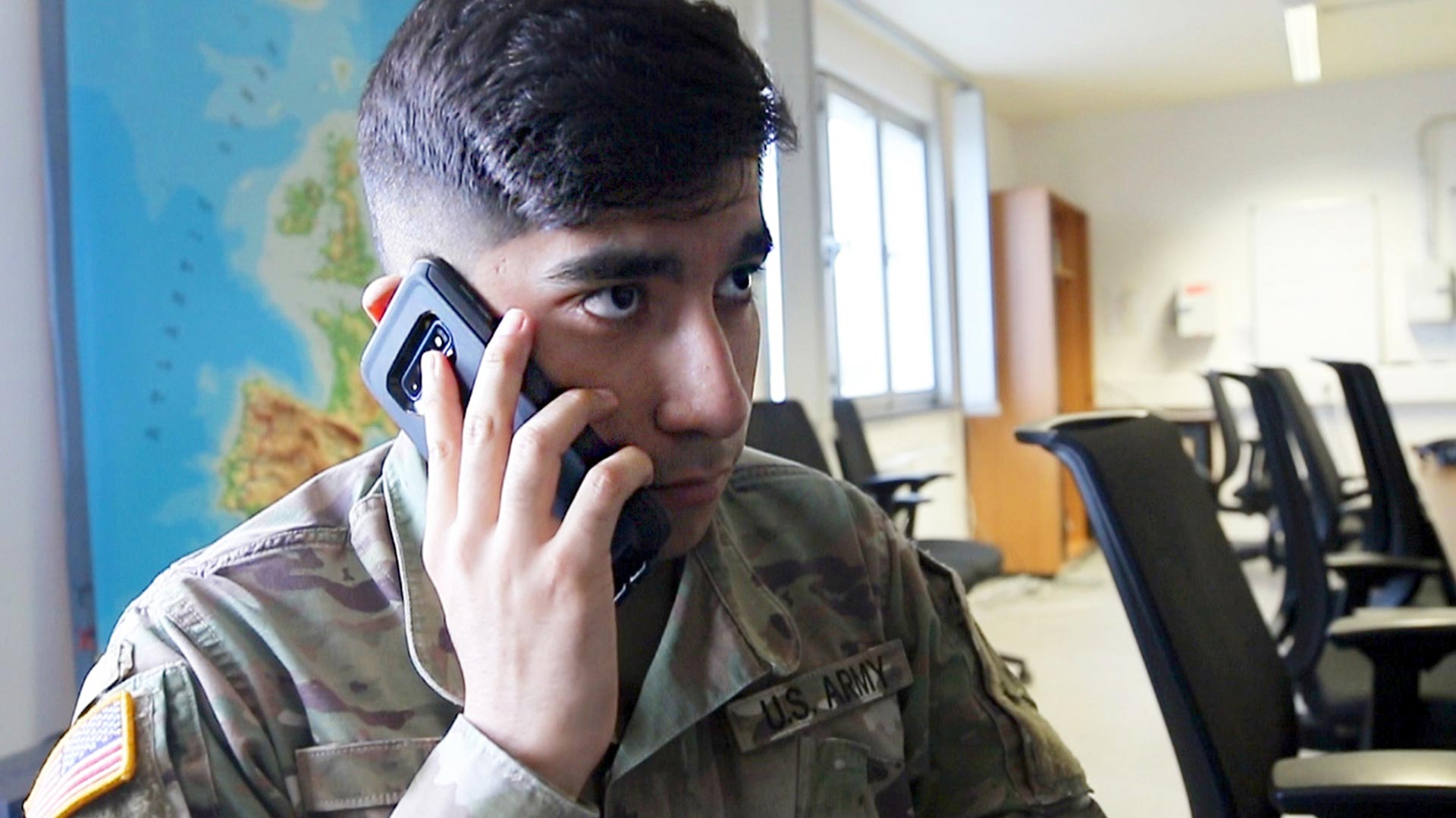 Service member talking on phone