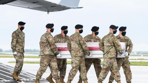 Soldiers transfer remains