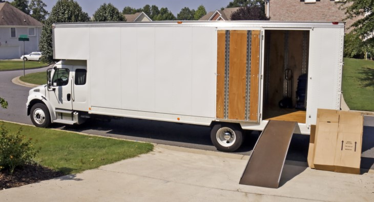 moving truck with boxes