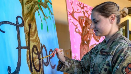 service member painting