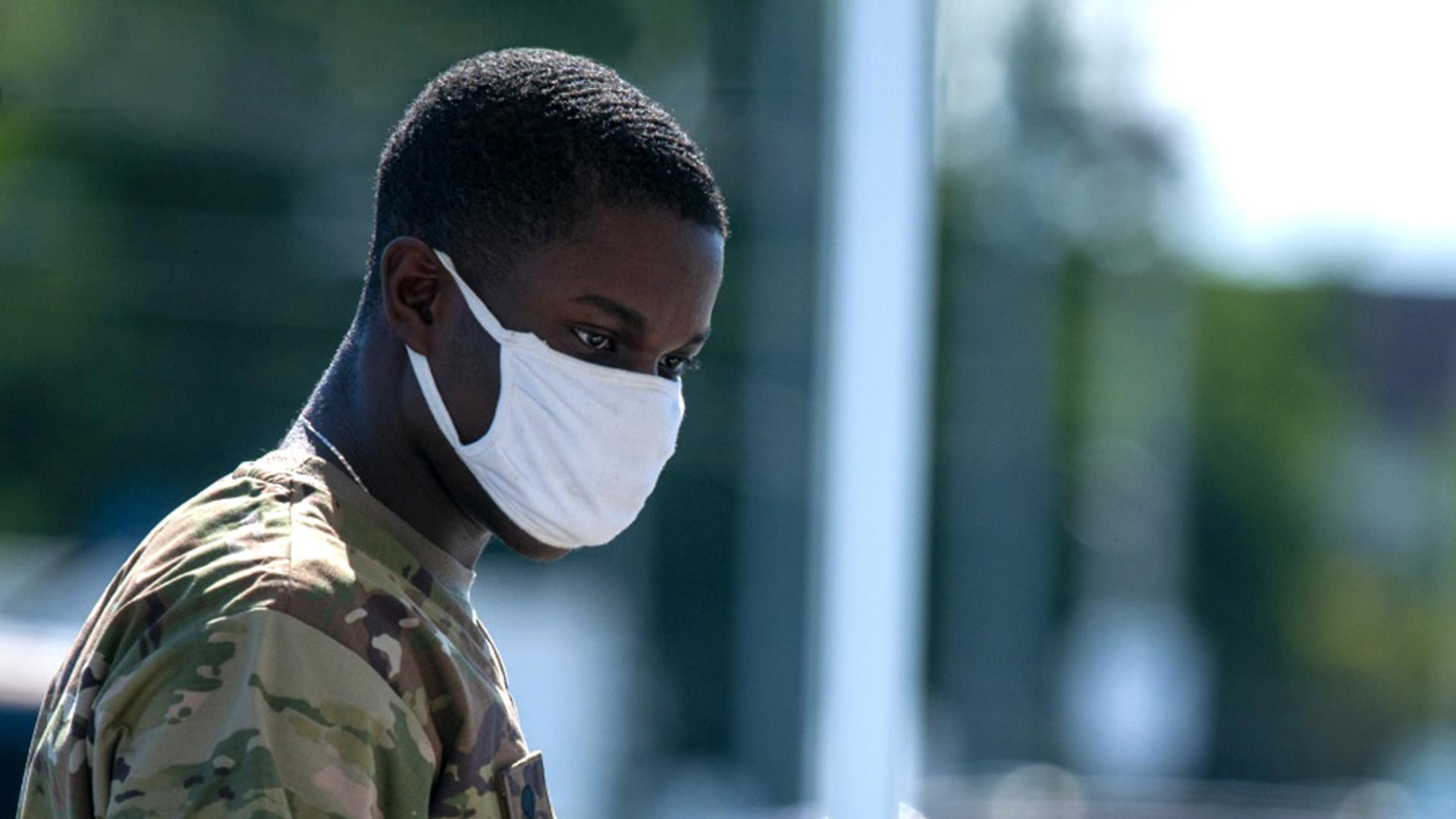 Service member with face mask